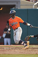 Josh Anthony (3) of the Auburn Tigers follows through on his swing against the Army Black Knights at Doak Field at Dail Park on June 2, 2018 in Raleigh, North Carolina. The Tigers defeated the Black Knights 12-1. (Brian Westerholt/Four Seam Images)