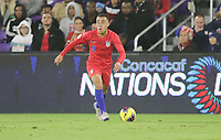 ORLANDO, FL - NOVEMBER 15: Sergino Dest #18 oof the United States looks for an open man downfield during a game between Canada and USMNT at Exploria Stadium on November 15, 2019 in Orlando, Florida.