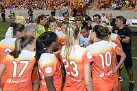 Houston, TX - Saturday July 08, 2017: Houston Dash huddle prior to a regular season National Women's Soccer League (NWSL) match between the Houston Dash and the Portland Thorns FC at BBVA Compass Stadium.