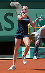 Urszula Radwanska (POL) loses at Roland Garros in Paris, France on May 31, 2012