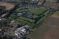 aerial photograph of the Vinter's Golf Course, Yountville, Napa County, California; the Veteran's Administration Hospital, foreground left