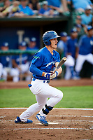 James Outman (47) of the Ogden Raptors follows through on a swing during a game against the Idaho Falls Chukars at Lindquist Field on August 29, 2018 in Ogden, Utah. Idaho Falls defeated Ogden 15-6. (Stephen Smith/Four Seam Images)
