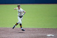 Michigan Wolverines shortstop Benjamin Sems (2) makes a throw to first base against the Maryland Terrapins on May 23, 2021 in NCAA baseball action at Ray Fisher Stadium in Ann Arbor, Michigan. Maryland beat the Wolverines 7-3. (Andrew Woolley/Four Seam Images)