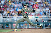 Vanderbilt Commodores pitcher Zach King (34) delivers a pitch to the plate against the Michigan Wolverines during Game 1 of the NCAA College World Series Finals on June 24, 2019 at TD Ameritrade Park in Omaha, Nebraska. Michigan defeated Vanderbilt 7-4. (Andrew Woolley/Four Seam Images)