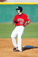 Ryan Cordell (13)  of the Hickory Crawdads rounds second base after hitting a double against the Charleston RiverDogs at L.P. Frans Stadium on May 24, 2014 in Hickory, North Carolina.  The Crawdads defeated the RiverDogs 7-3.  (Brian Westerholt/Four Seam Images)