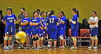 14 October 2012: The Yeshiva University Maccabees prepare for a game against the St. Joseph's Lady Bears at Culinary Institute of America in Hyde Park, NY. The Lady Bears defeated the Maccabees 3-0 in NCAA women's volleyball play. Mandatory Credit: Ed Wolfstein Photo