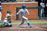 Duke Blue Devils first baseman Chris Crabtree (3) at bat against the Wright State Raiders in NCAA Regional play on Robert M. Lindsay Field at Lindsey Nelson Stadium on June 5, 2021, in Knoxville, Tennessee. (Danny Parker/Four Seam Images)