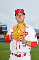 Spokane Indians pitcher Ryan Garcia (9) poses for a photo before a Northwest League game against the Hillsboro Hops at Avista Stadium on August 23, 2019 in Spokane, Washington. Hillsboro defeated Spokane 8-2. (Zachary Lucy/Four Seam Images)