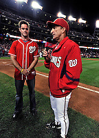 30 September 2009: Washington Nationals' Manager Jim Riggleman thanks the fans for a supportive season after a game against the New York Mets at Nationals Park in Washington, DC. The Nationals rallied in the bottom of the 9th inning on Justin Maxwell's walk-off Grand Slam to win 7-4 and sweep the Mets 3-game series capping the Nationals' 2009 home season. Mandatory Credit: Ed Wolfstein Photo