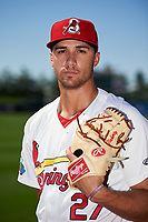 Springfield Cardinals pitcher Jack Flaherty (27) poses for a photo before a game against the Corpus Christi Hooks on May 30, 2017 at Hammons Field in Springfield, Missouri.  Springfield defeated Corpus Christi 4-3.  (Mike Janes/Four Seam Images)