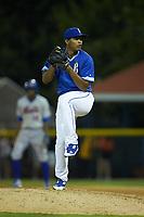 Burlington Royals relief pitcher Emmanuel Estevez (23) in action against the Kingsport Mets at Burlington Athletic Stadium on July 27, 2018 in Burlington, North Carolina. The Mets defeated the Royals 8-0.  (Brian Westerholt/Four Seam Images)