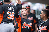 Christian Walker (22) of the Norfolk Tides high fives teammate Pedro Beato (36) after scoring a run against the Charlotte Knights at BB&T BallPark on June 7, 2015 in Charlotte, North Carolina.  The Tides defeated the Knights 4-1.  (Brian Westerholt/Four Seam Images)