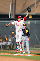 Johnson City Cardinals first baseman Hunter Newman (32) jumps for a high throw during the game against the Bristol Pirates at Howard Johnson Field at Cardinal Park on July 6, 2015 in Johnson City, Tennessee.  The Pirates defeated the Cardinals 2-0 in game one of a double-header. (Brian Westerholt/Four Seam Images)