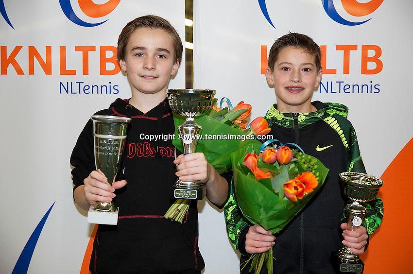 March 8, 2015, Netherlands, Rotterdam, TC Victoria, NOJK, Winner boys 12 years Daniel Bernard and runner up Freek van Donselaar (R)<br /> Photo: Tennisimages/Henk Koster