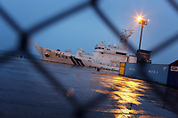 A Japanese Coast Guard ship at dock in Naha city. Okinawa, Japan. 2012