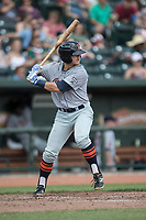Bowling Green Hot Rods third baseman Michael Brosseau (10) at bat against the Great Lakes Loons during the Midwest League baseball game on June 4, 2017 at Dow Diamond in Midland, Michigan. Great Lakes defeated Bowling Green 11-0. (Andrew Woolley/Four Seam Images)
