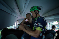 Mathew Hayman (AUS/Orica-BikeExchange) & DS Laurenzo Lapage checking some last details on the teambus before the start of the last stage<br /> <br /> Final stage 21 - Chantilly › Paris/Champs Elysées (113km)<br /> 103rd Tour de France 2016