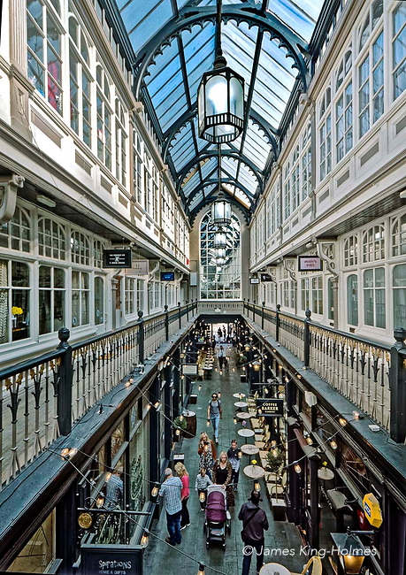 The Casle Arcade in central Cardiff is one of a number of shopping facilities built in this welsh capital city in the 19th Century. Retail and office space occupy two floors of the arcade, with the walkway on the upper floor being reached by staircases. The ground floor passages are occupied by bookshops, cafes, and other small independent traders suited to the historical environment created by the narrow thoroughfare and the Victorian architecture.