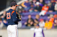 Starting pitcher Danny Hultzen #23 of the Virginia Cavaliers at Clark-LeClair Stadium on February 19, 2010 in Greenville, North Carolina.   Photo by Brian Westerholt / Four Seam Images