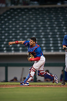 AZL Cubs 2 catcher Henderson Perez (8) throws to second base during an Arizona League game against the AZL Rangers at Sloan Park on July 7, 2018 in Mesa, Arizona. AZL Rangers defeated AZL Cubs 2 11-2. (Zachary Lucy/Four Seam Images)