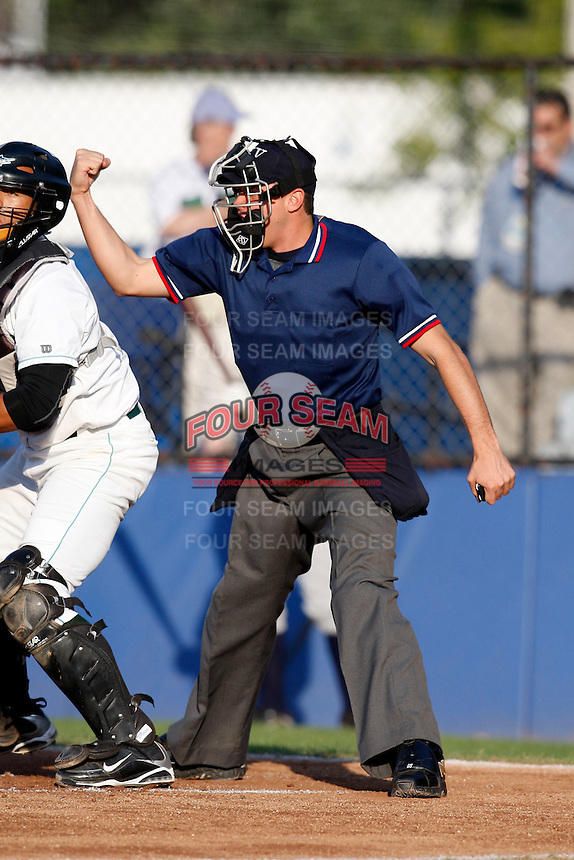 July 16, 2009:  Home Plate Umpire Jose Rivera during a NY-Penn League game at Russell Deithrick Park in Jamestown, NY.  Photo By Mike Janes/Four Seam Images