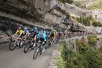 yellow jersey Michał Kwiatkowski (POL/SKY) at the front of the bunch<br /> <br /> Stage 7: Nice to Col de Turini (181km)<br /> 77th Paris - Nice 2019 (2.UWT)<br /> <br /> ©kramon