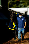 MAY13, 2021:  Kentucky Derby winner Medina Spirit gets a bath after his gallop in preparation for the Preakness Stakes at  Pimlico Race Course in Baltimore, Maryland on May 13, 2021. EversEclipse Sportswire/CSM