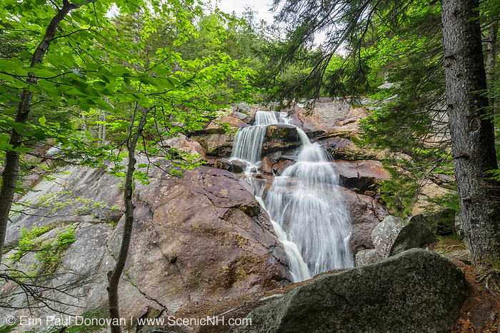 Upper Georgiana Falls on Harvard Brook in Lincoln, New Hampshire during the spring months. These falls are also referred to as just Georgiana Falls.