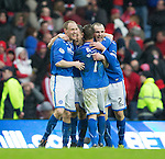 St Johnstone v Aberdeen...13.04.14    William Hill Scottish Cup Semi-Final, Ibrox<br /> Steven Anderson, Frazer Wright, Chris Millar and Dave Mackay celebrate at full time<br /> Picture by Graeme Hart.<br /> Copyright Perthshire Picture Agency<br /> Tel: 01738 623350  Mobile: 07990 594431