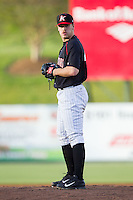 Kannapolis Intimidators starting pitcher Andrew Mitchell (45) looks to his catcher for the sign against the Hickory Crawdads at CMC-Northeast Stadium on May 2, 2014 in Kannapolis, North Carolina.  The Crawdads defeated the Intimidators 7-2.  (Brian Westerholt/Four Seam Images)