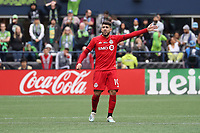 SEATTLE, WA - NOVEMBER 10: Alejandro Pozuelo #10 of Toronto FC calls for the ball during a game between Toronto FC and Seattle Sounders FC at CenturyLink Field on November 10, 2019 in Seattle, Washington.