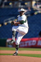 USF Bulls pitcher Brandon Lawson (13) delivers a pitch during a game against the Alabama State Hornets on February 15, 2015 at Bright House Field in Clearwater, Florida.  USF defeated Alabama State 12-4.  (Mike Janes/Four Seam Images)