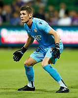 18th April 2021; HBF Park, Perth, Western Australia, Australia; A League Football, Perth Glory versus Wellington Phoenix; Liam Reddy of the Perth Glory waits for the shot from the Wellington attack