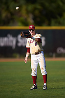 Boston College Eagles left fielder Michael Strem (10) warms up in between innings during a game against the Central Michigan Chippewas on March 3, 2017 at North Charlotte Regional Park in Port Charlotte, Florida.  Boston College defeated Central Michigan 5-4.  (Mike Janes/Four Seam Images)