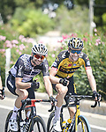 Time for smiles in the peloton during Stage 8 of La Vuelta d'Espana 2021, running 173.7km from Santa Pola to La Manga del Mar Menor, Spain. 21st August 2021.     <br /> Picture: Charly Lopez/Unipublic | Cyclefile<br /> <br /> All photos usage must carry mandatory copyright credit (© Cyclefile | Unipublic/Charly Lopez)
