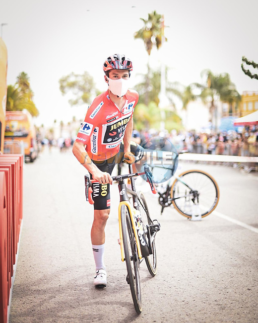 Race leader Red Jersey Primoz Roglic (SLO) Jumbo-Visma heads to sign on before Stage 9 of La Vuelta d'Espana 2021, running 188km from Puerto Lumbreras to Alto de Velefique, Spain. 22nd August 2021.     <br /> Picture: Unipublic/Charly Lopez | Cyclefile<br /> <br /> All photos usage must carry mandatory copyright credit (© Cyclefile | Charly Lopez/Unipuplic)