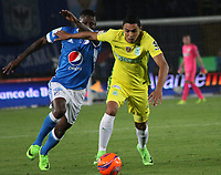 BOGOTA -COLOMBIA, 7-04-2017.Daniel Bocanegra player of Atletico Nacional  (R)  fights the ball against Duvier Riascos (L)  player of Millonarios . Action game between  Millonarios  and Atletico Nacional during match for the date 12 of the Aguila League I 2017 played at Nemesio Camacho El Campin stadium . Photo:VizzorImage / Felipe Caicedo  / Staff