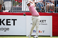 3rd July 2021, Detroit, MI, USA;   Beau Hossler hits his tee shot on the first hole on July 3, 2021 during the Rocket Mortgage Classic at the Detroit Golf Club in Detroit, Michigan.
