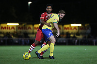 Billy Healey of Wingate & Finchley and Rickie Hayles of Hornchurch during Hornchurch vs Wingate & Finchley, Pitching In Isthmian League Premier Division Football at Hornchurch Stadium on 6th October 2020