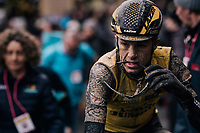 post-race face<br /> <br /> 12th Strade Bianche 2018<br /> Siena > Siena: 184km (ITALY)