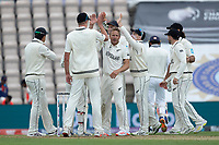 Neil Wagner, New Zealand and team mates celebrate the wicket of Shubman Gill, India during India vs New Zealand, ICC World Test Championship Final Cricket at The Hampshire Bowl on 19th June 2021