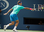 Roger Federer (SUI) loses to Marin Cilic (CRO) in the semifinals 6-3, 6-4, 6-4 at the US Open being played at USTA Billie Jean King National Tennis Center in Flushing, NY on September 6, 2014