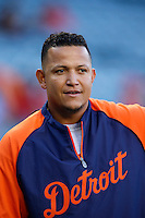 Miguel Cabrera #24 of the Detroit Tigers before a game against the Los Angeles Angels at Angel Stadium on April 19, 2013 in Anaheim, California. (Larry Goren/Four Seam Images)