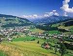 Austria, Tyrol, near Kitzbuehel: village Kirchberg and mountain Kitzbueheler Horn (1.996 m)