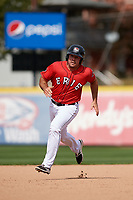 Erie SeaWolves third baseman Zack Cox (14) running the bases during a game against the Akron RubberDucks on August 27, 2017 at UPMC Park in Erie, Pennsylvania.  Akron defeated Erie 6-4.  (Mike Janes/Four Seam Images)
