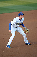 Devin Mann (33) of the Rancho Cucamonga Quakes in the field during a game against the Lancaster JetHawks at LoanMart Field on June 4, 2019 in Rancho Cucamonga, California. (Larry Goren/Four Seam Images)
