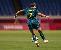 TOKYO, JAPAN - JULY 24: Sam Kerr #2 of Australia controls the ball during a game between Australia and Sweden at Saitama Stadium on July 24, 2021 in Tokyo, Japan.