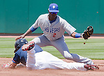 Reno Aces Adam Eaton dives as he steals second base as Las Vegas 51s shortstop Adeiny Hechavarria takes the throw during their game played on Sunday afternoon, July 1, 2012 in Reno, Nevada.