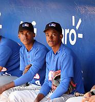 Rainer Polonius (left), Ryson Polonius (right) participates in the MLB International Showcase at Estadio Quisqeya on February 22-23, 2017 in Santo Domingo, Dominican Republic.