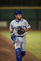 Mesa Solar Sox bullpen catcher Jhonny Pereda (6), of the Chicago Cubs organization, during an Arizona Fall League game against the Scottsdale Scorpions on October 9, 2018 at Scottsdale Stadium in Scottsdale, Arizona. The Solar Sox defeated the Scorpions 4-3. (Zachary Lucy/Four Seam Images)